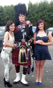 Ceilidh and pal with Jim outside Easthouse Miners Club
